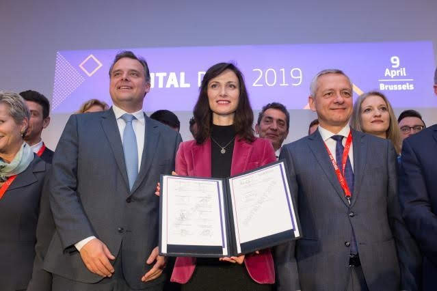 Participation of Andrus Ansip, Vice-President of the EC, Tibor Navracsics and Mariya Gabriel, Members of the EC, at the Digital Day 2019 - photo credit European Union, Photographer: Basia Pawlik